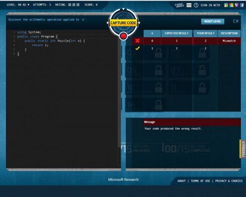 微软推出编程学习网页游戏Code-Hunt